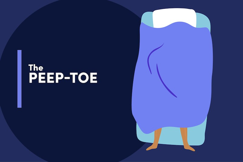 Illustration of a person sleeping in bed, covered by a blanket, except with their toes sticking out