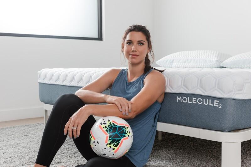 Portrait of Alex Morgan with a Molecule mattress