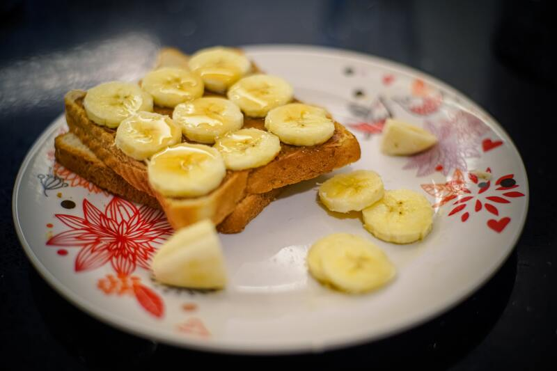 Bedtime snack: Whole-Wheat Toast with Almond Butter and Sliced Bananas