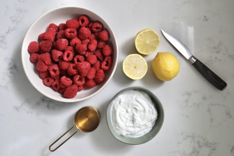 Homenade Raspberry Frozen Yogurt Ingredients