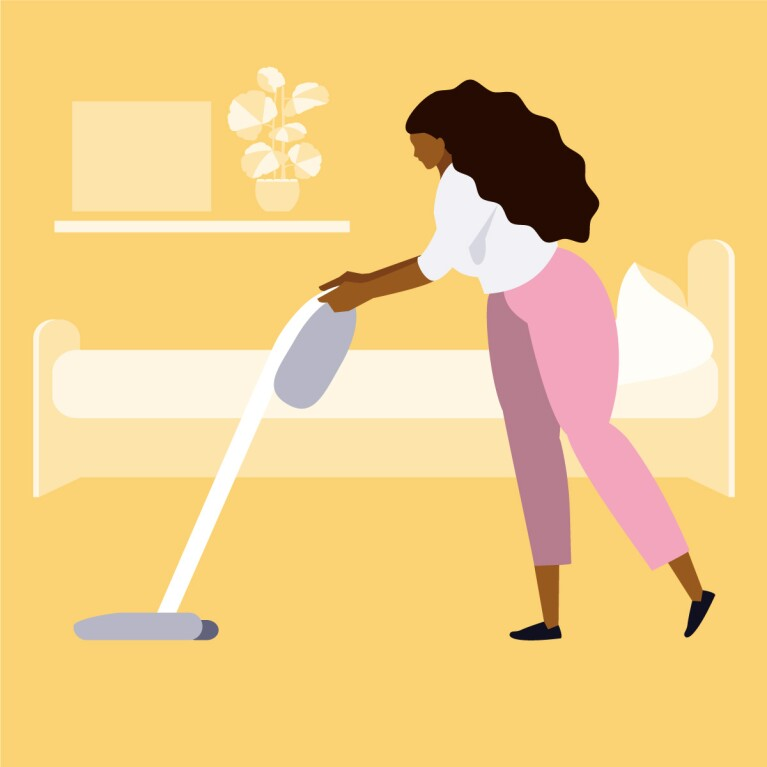 Illustration of a woman vacuuming her bedroom for spring cleaning