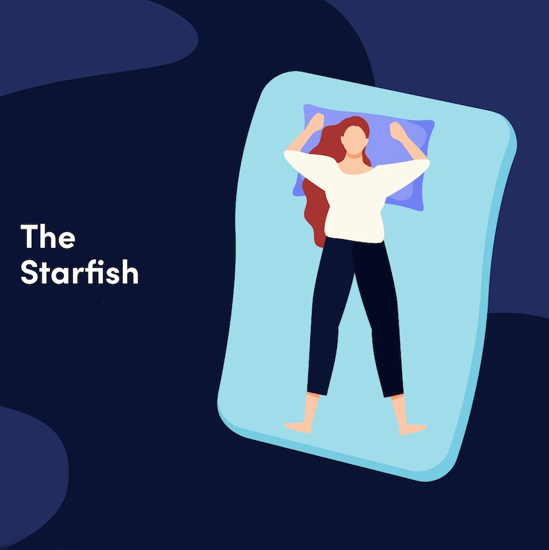 Illustration of a person sleeping like a starfish, all their limbs pointing at an angle in different directions
