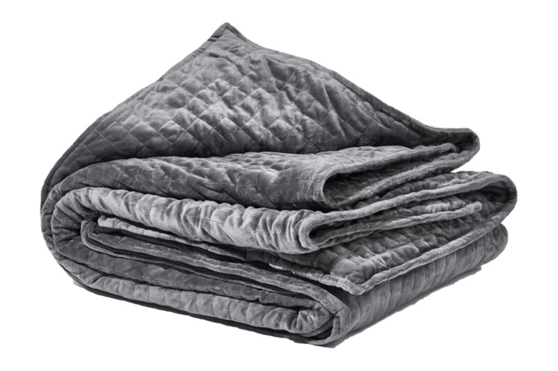 Folded grey weighted blanket