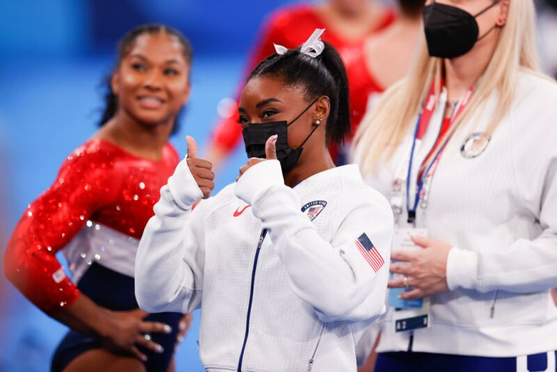 Simone Biles giving a thumbs up during the Women's Team Final during the Tokyo 2020 Olympic