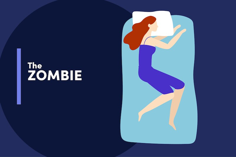 Illustration of a person sleeping with their arms reaching out in a zombie-like stance