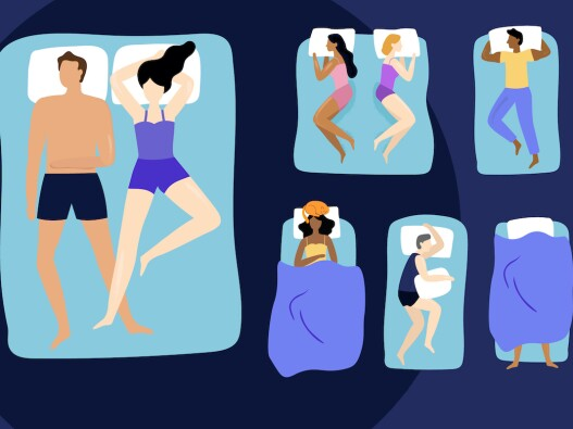 Illustration of multiple and different funny sleep positions that people do throughout the night
