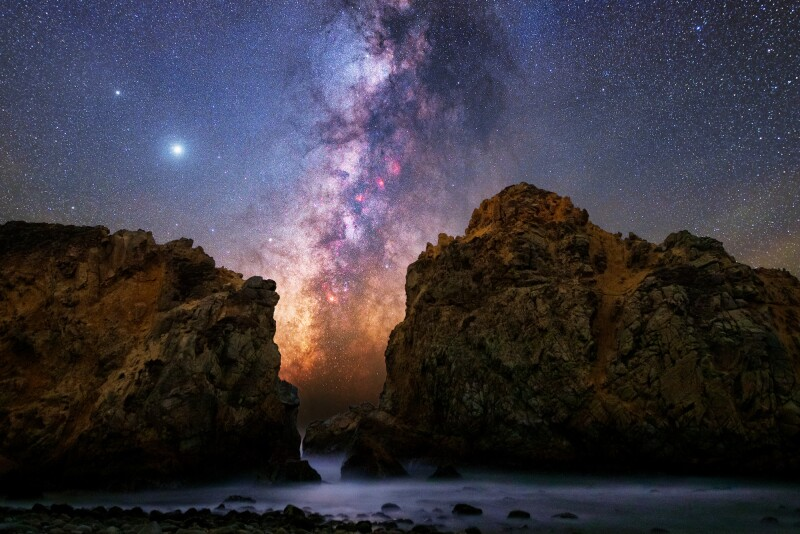 Dark sky stargazing at Pfeiffer Beach in Big Sur, California
