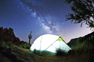 Stargazing in a dark skies location with the Milky Way overhead