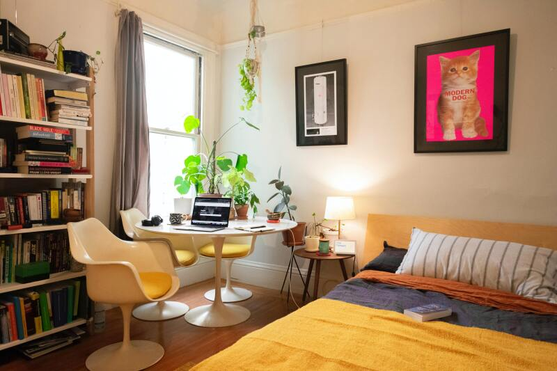 Corner view of a bedroom decor.