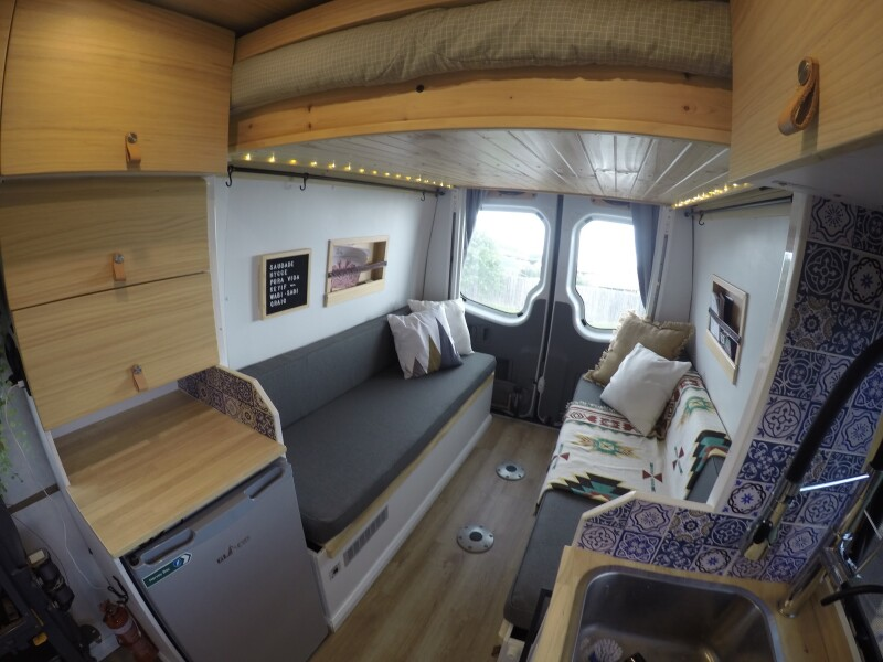 Bed up in camper van.