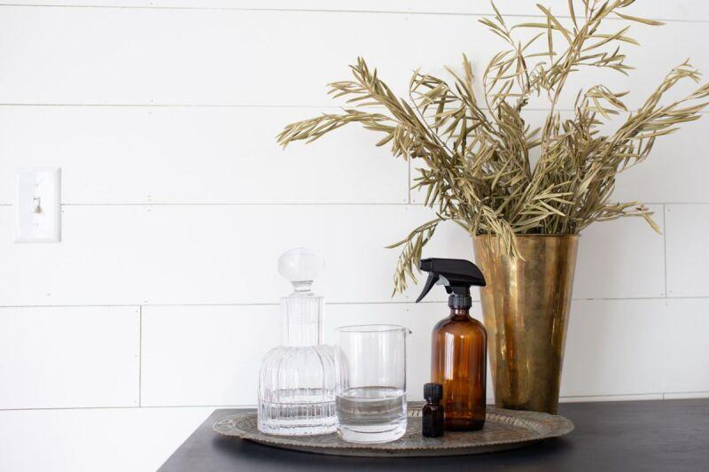 Materials for DIY linen spray for better sleep.