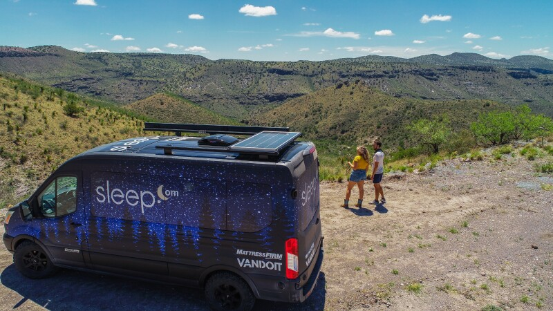 The Sleep.com Van Life camper van overlooking the Davis Mountains State Park Texas.