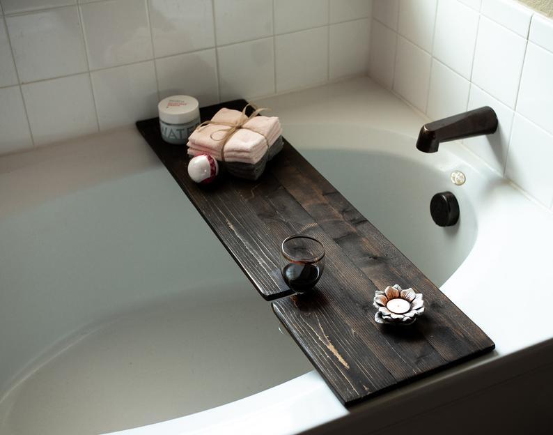 Rustic bathtub caddy with wine glass holder