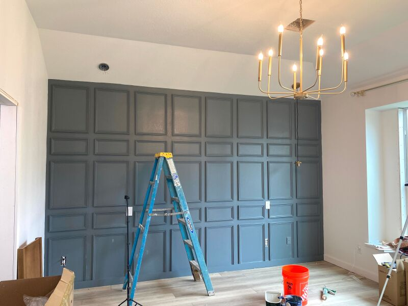 Finished trim accent wall