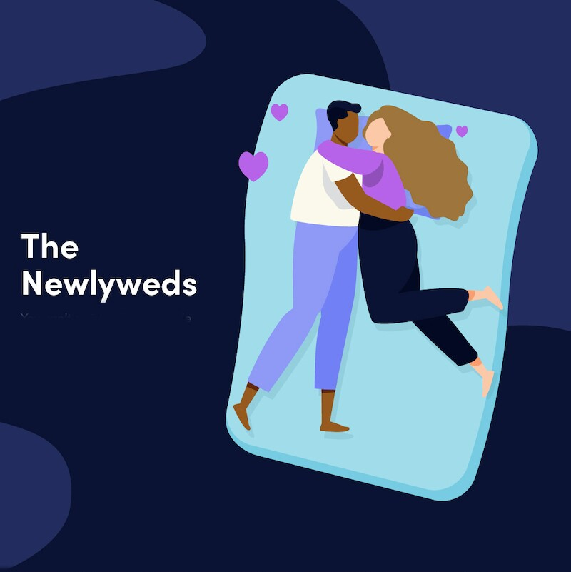 Illustration of a couple hugging each other face to face in their sleep