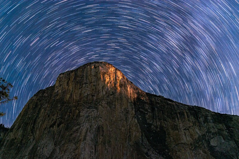 Deep skies stargazing over El Capitan in Yosemite National Park.