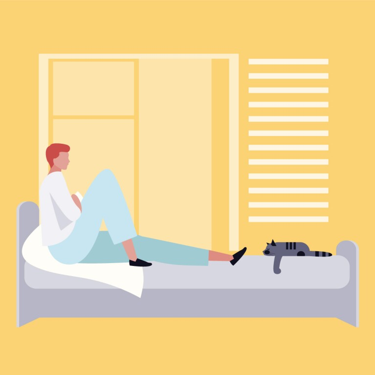 Illustration of a man sitting on his mattresses with his cat