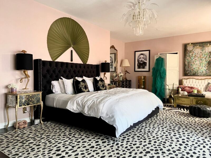 Decor in a Hollywood Regency inspired bedroom.