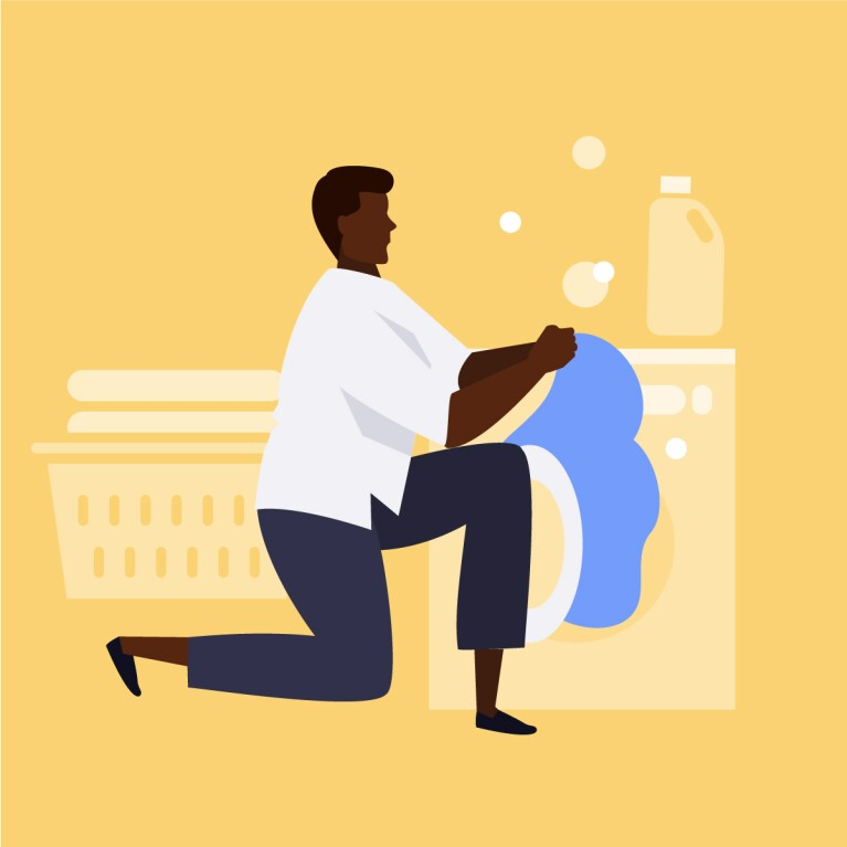 Illustration of a man washing bedding for spring cleaning