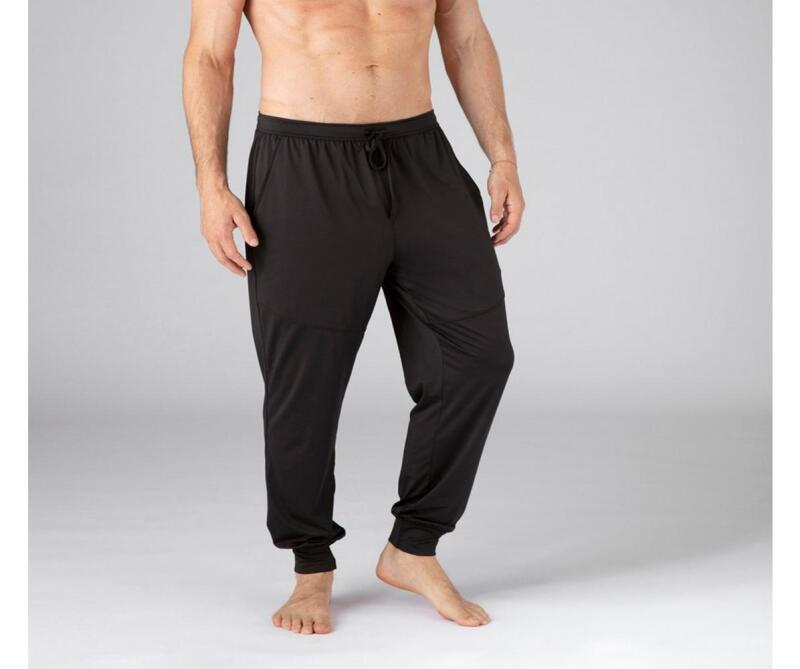 Man wearing a black pair of Sheex Modern Men's Joggers