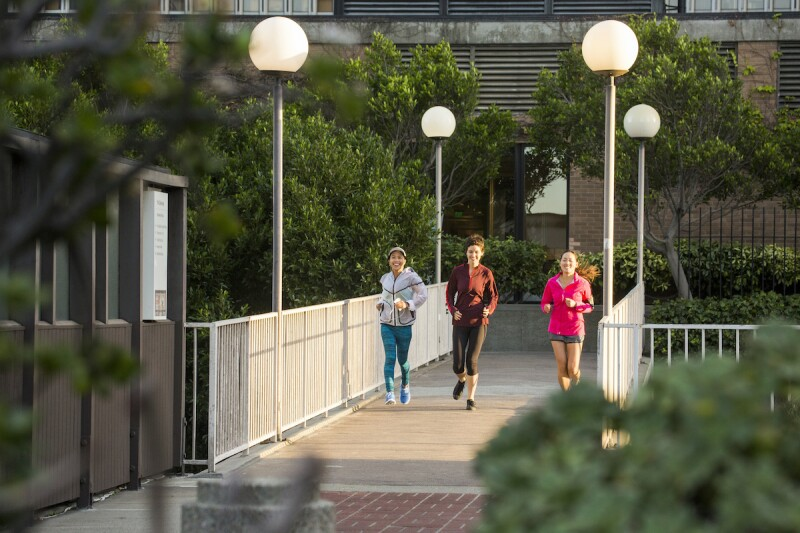 Three college students running in the morning to help sync sleep schedule