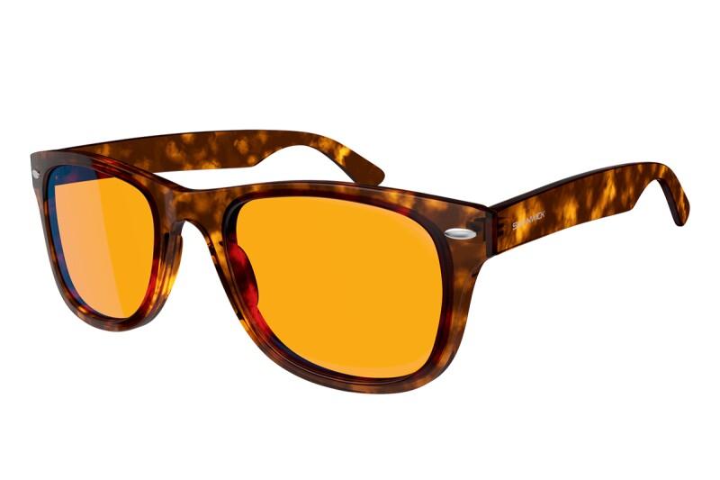 tortoiseshell henley-style blue-light-blocking glasses with orange lenses