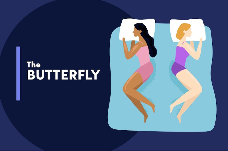 Illustration of two people sleeping on the same mattress, facing away with their legs bent