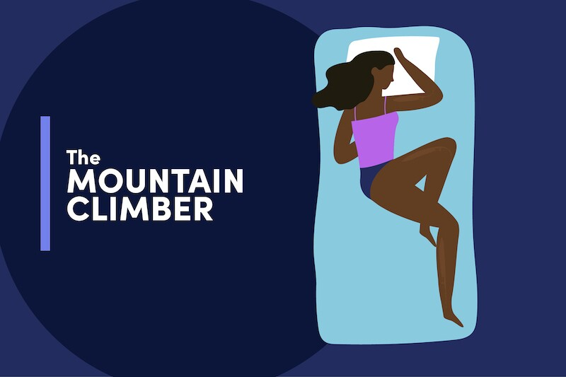 Illustration of a person sleeping on a mattress in a position like they are mid climb on a bouldering wall