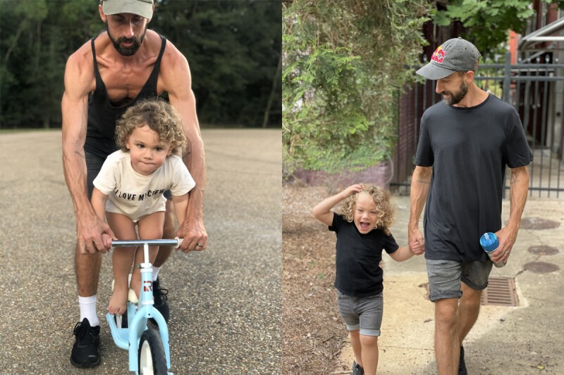 BMX rider Terry Adams with his son Ledge. L: Adams showing Ledge how to ride a bike. R: Adams and Ledge happily holding hands as they go for a walk.