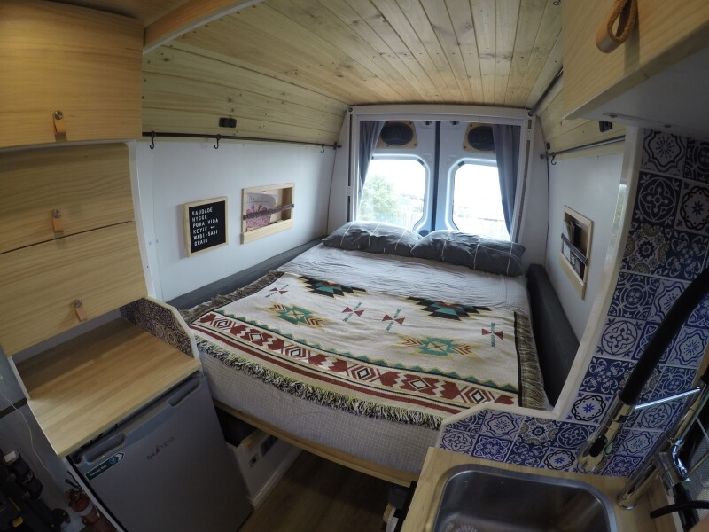 Bed Down in camper van.
