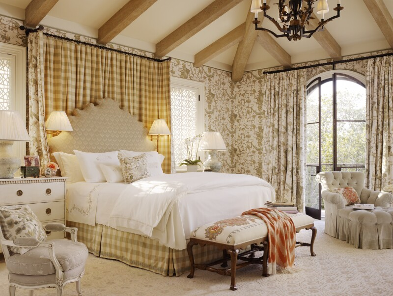 Beige bedroom designed with maximalist styles and patterns