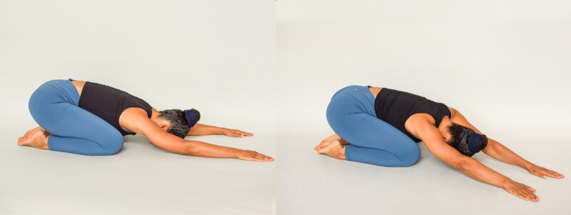 Person in child's pose and then bending to the side