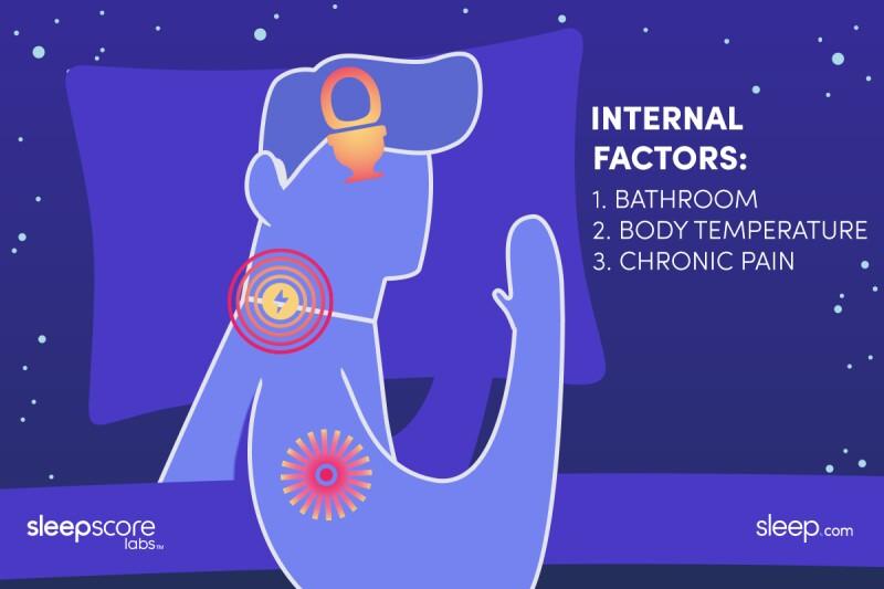Illustration of internal sleep disruptions: bathroom, body temperature, chronic pain