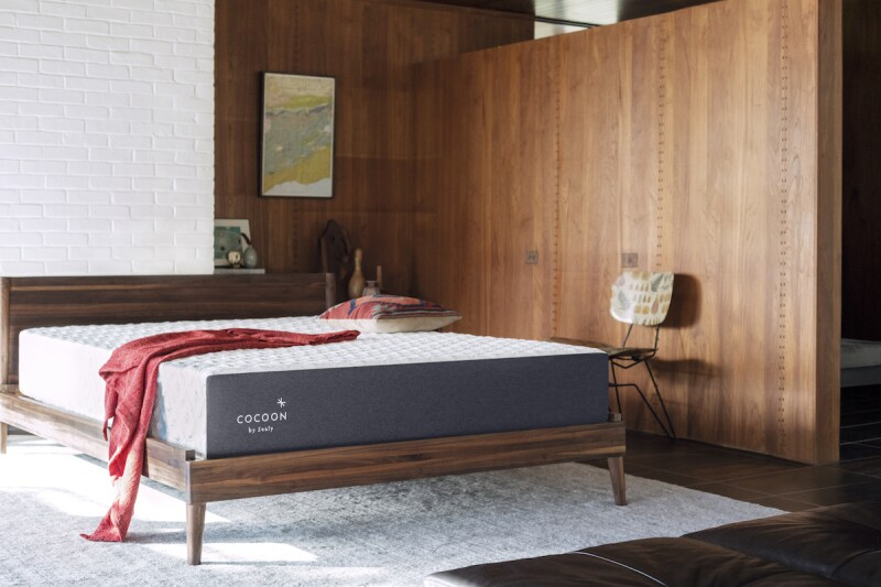 Cocoon by Sealy Chill memory foam mattress on a wooden bed frame