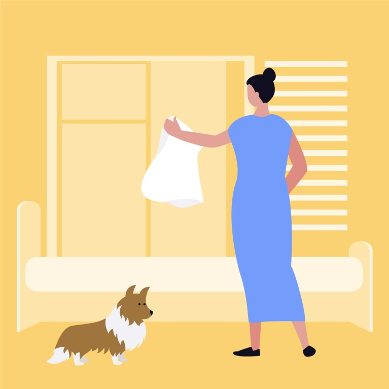 Illustration of a woman changing her pillow for spring cleaning