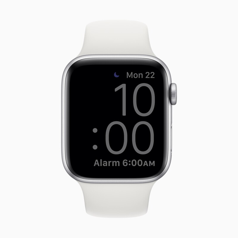 Apple Watch clock face while in Sleep Mode.