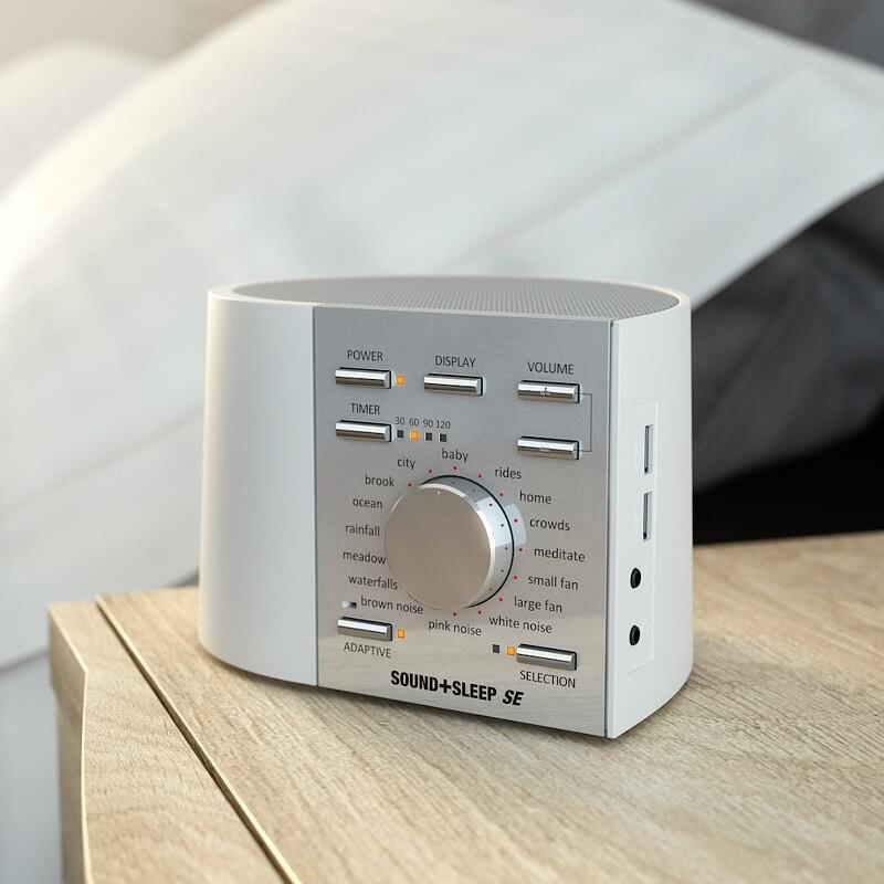 Sound+Sleep SE white noise machine on a nightstand
