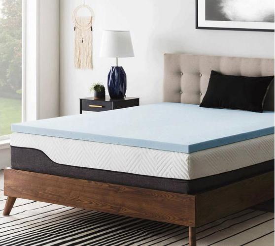 Gel memory foam mattress topper on a mattress.