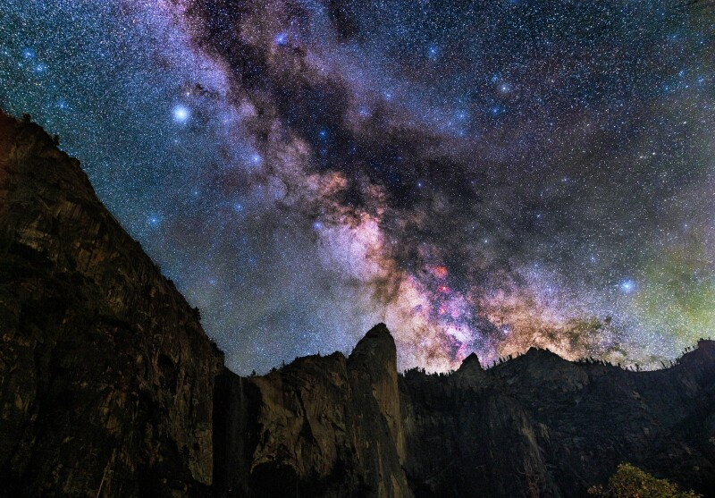 Deep skies stargazing over Bridalveil Fall in Yosemite Valley California.