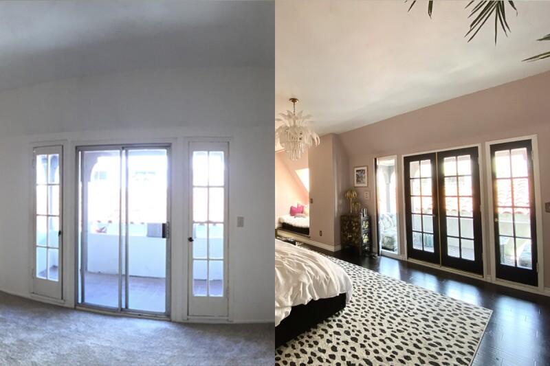 Before and after shot of the balcony doors in a Hollywood Regency style inspired bedroom