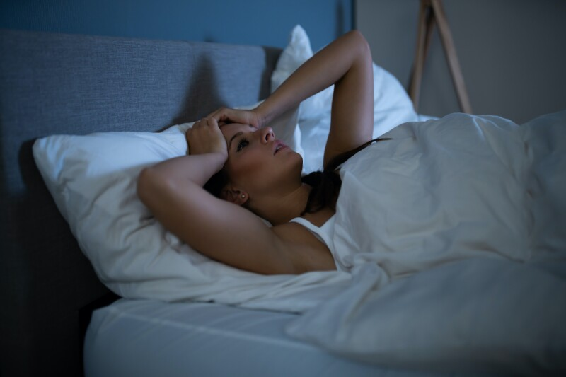 Person up at night due to anxiety