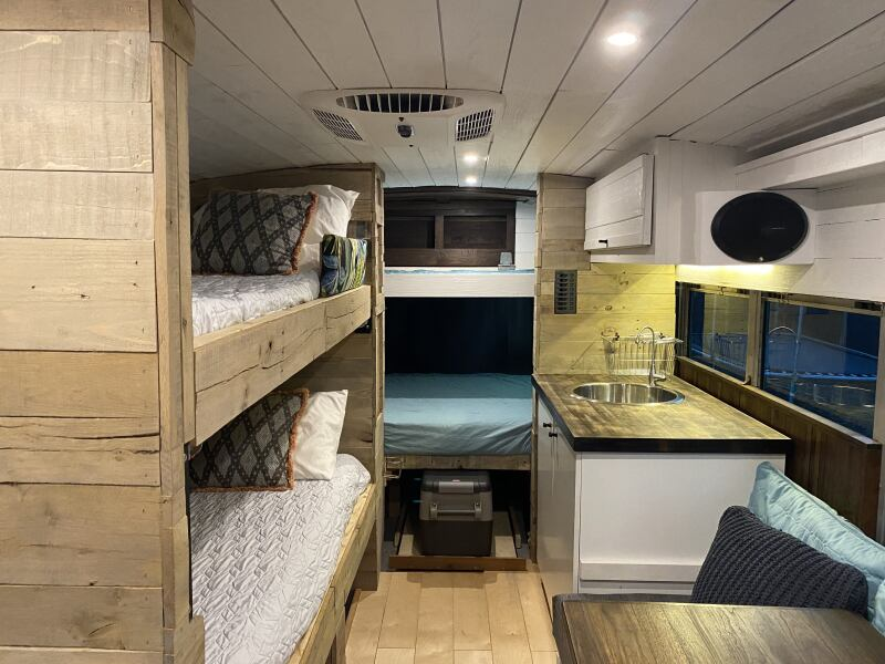 Bunk beds in a camper van.