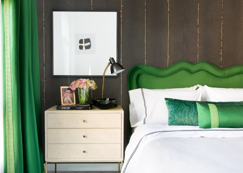 Emerald green decorated bedroom