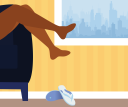 Illustration of someone kicking off their sandals before getting into bed