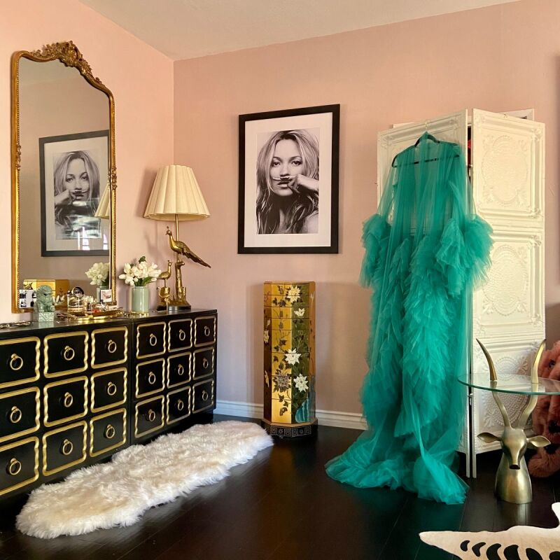 Decor for a glam Hollywood hotel bedroom.