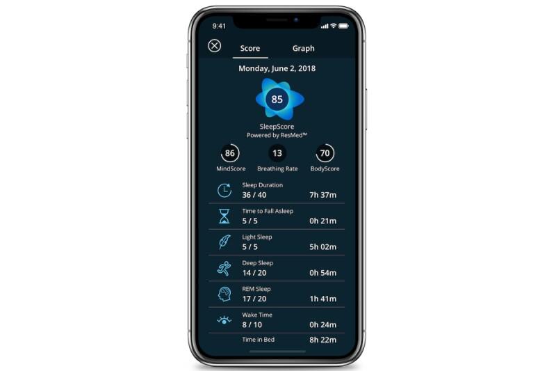 SleepScore app screen