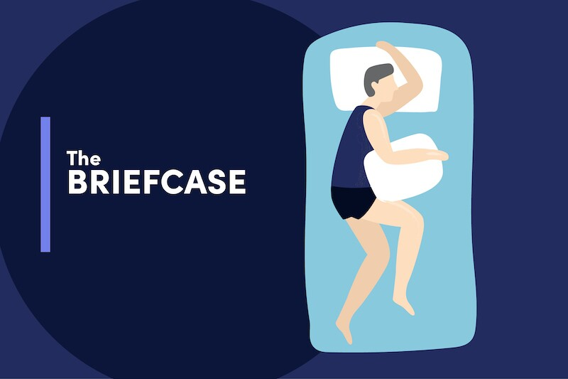 Illustration of a person sleeping with two pillows, one under their head and the other tucked under their arm like a briefcase