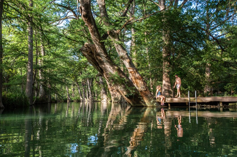 Road trip to the Blue Hole Regional Park in Wimberley Texas